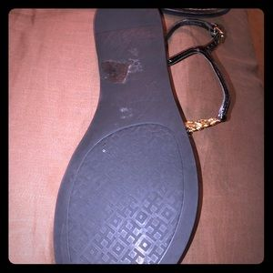 Tory Burch Black Sandals with gold emblem! Size 10